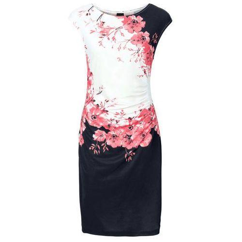 0048b2e322 Sukienka z marszczeniami czarno-koralowy z nadrukiem