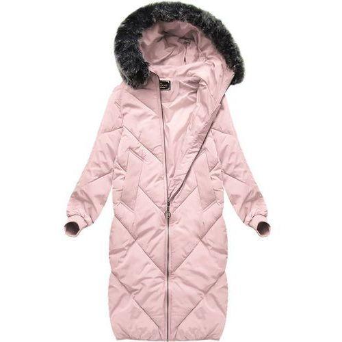 ce32385725fe9 Długa kurtka oversize pudrowy róż (7685) - różowy (Libland) - sklep ...