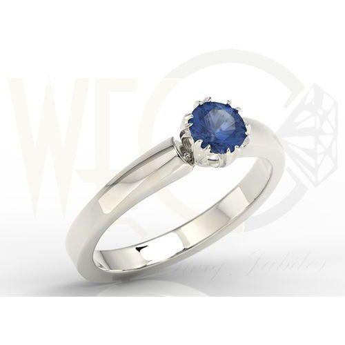 Węc  twój jubiler Pierścionek zaręczynowy z białego złota z szafirem bp 2130b