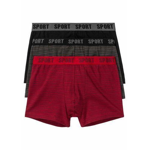 Bokserki (3 pary) bonprix czerwono-czarny z nadrukiem + czarny, kolor czerwony