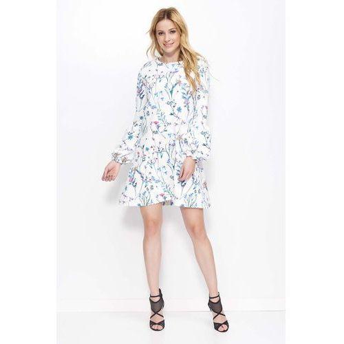 843cc44b03 Zobacz ofertę Makadamia Biała sukienka trapezowa w kwiaty z bufiastym  rękawem