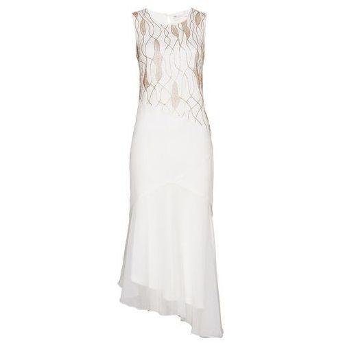 Sukienka z haftem z perełek bonprix biel wełny, kolor biały