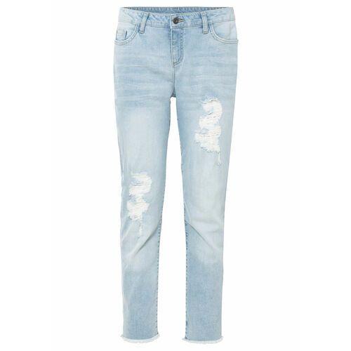 Spodnie ze stretchem 7/8, szerokie nogawki brązowy, Bonprix, 34-50