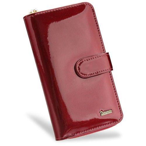 c6198a7085b45 Portfel damski skórzany lakierowany bardzo pojemny czerwony 603 marki  Peterson