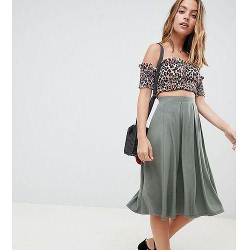 ASOS DESIGN Petite midi skirt with box pleats - Green, kolor zielony