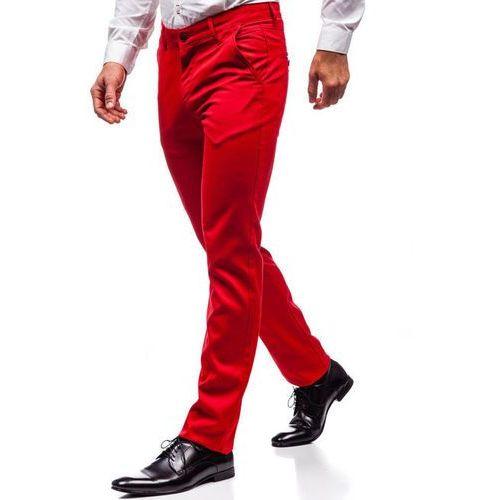 Red polo Spodnie wizytowe męskie czerwone denley 3149