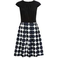 Sukienka w grochy bonprix czarno-biały z nadrukiem