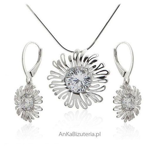 Komplet biżuterii srebrny z cyrkoniami, kolor szary