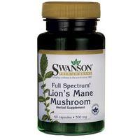 Kapsułki Swanson Full Spectrum Lion's Mane Muschroom (Hericum, Soplówka jeżowata) 500mg 60 kaps.