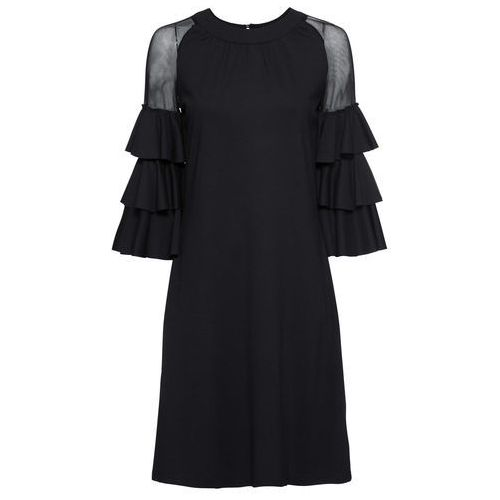 Sukienka z dżerseju z wycięciami na ramionach czarno-biały w paski, Bonprix, 32-38