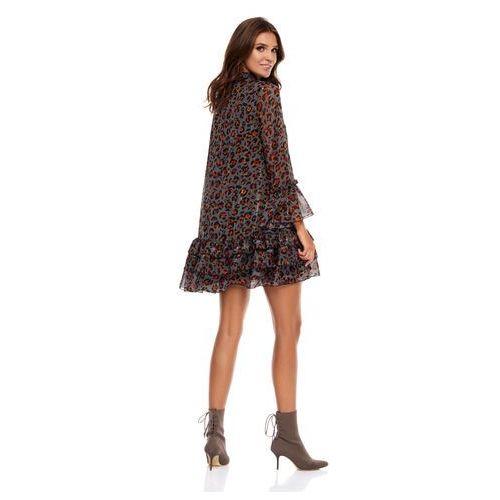 Sukienka Janell ciemnoszara w panterkę, 1 rozmiar