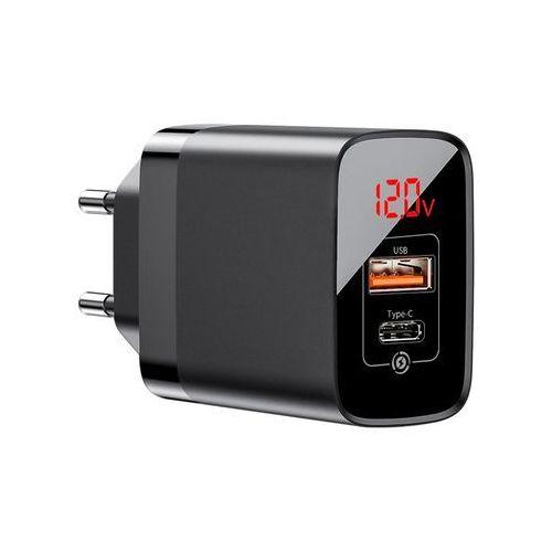 Baseus Mirror Lake PPS szybka ładowarka Quick Charge 3.0 Power Delivery 3.0 USB / USB Typ C 18W z wyświetlaczem czarny (CCJMHC-A01) - Czarny