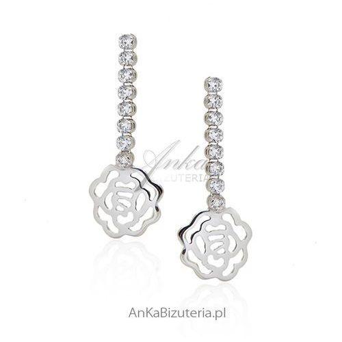 Anka biżuteria Kolczyki srebrne z cyrkoniamii - kwiatki