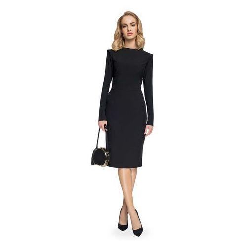 07e6ae4c2b Czarna Ołówkowa Sukienka Midi z Mini Stójką