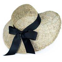 Kapelusz damski z morskiej trawy natural, plażowy
