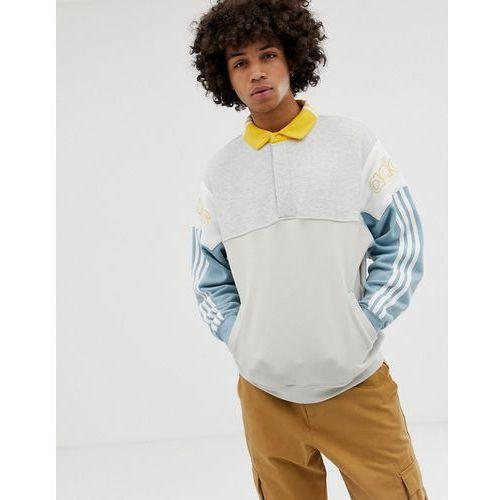 706cf30e3 Adidas Originals Adidas originals rugby sweatshirt with three stripes  dv3147 grey - white