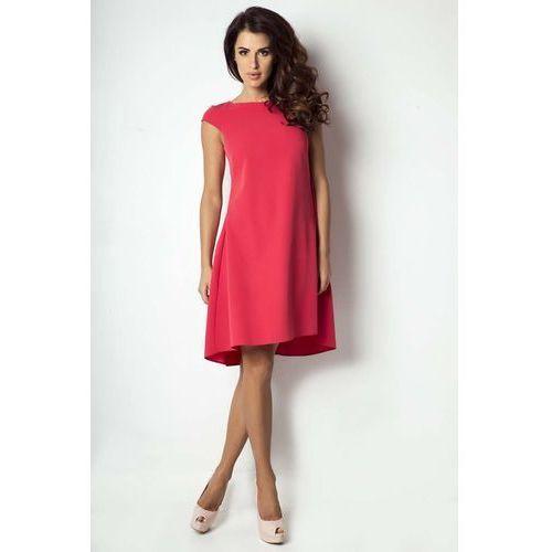 59d8232c73 Różowa zwiewna koktajlowa sukienka z dekoltem halter na stójce