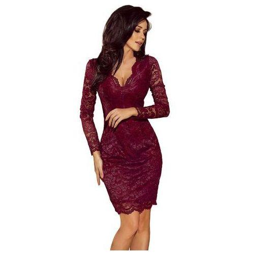 cb3a97162f Bordowa koronkowa sukienka koktajlowa