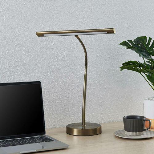 Lindby Nikali lampka biurkowa LED mosiądz antyczny