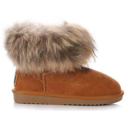 b0e11e0e9616f ▷ Włoskie skórzane botki damskie śniegowce rude (Vera Pelle) - ceny ...