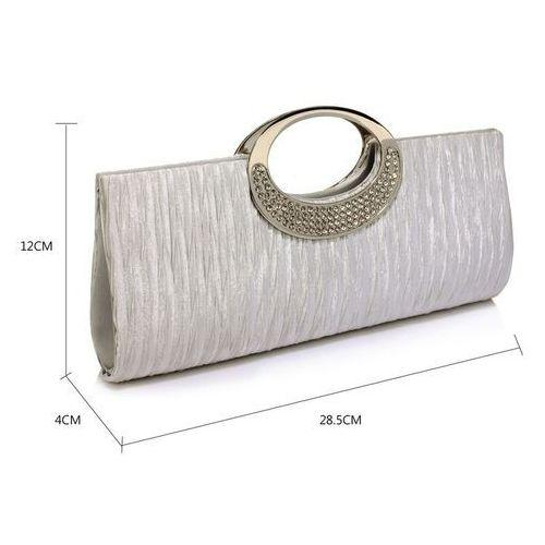 625b6cb5c5f09 Kopertówka torebka wizytowa drapowana srebrna - srebrny
