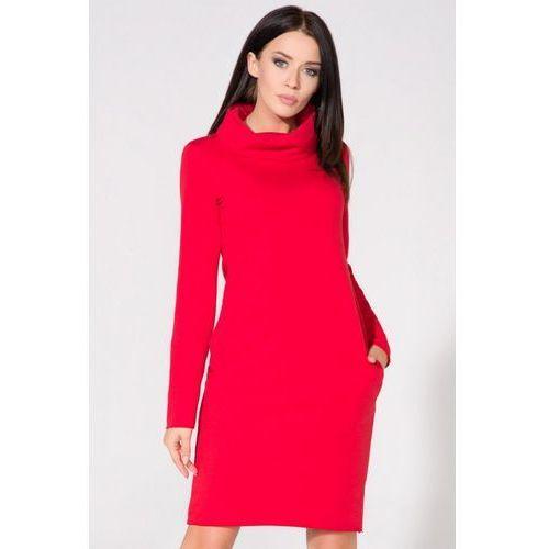 380740cfb5 Dresowa dwukolorowa sukienka z golfem kaja ciemnoszara (Tessita ...
