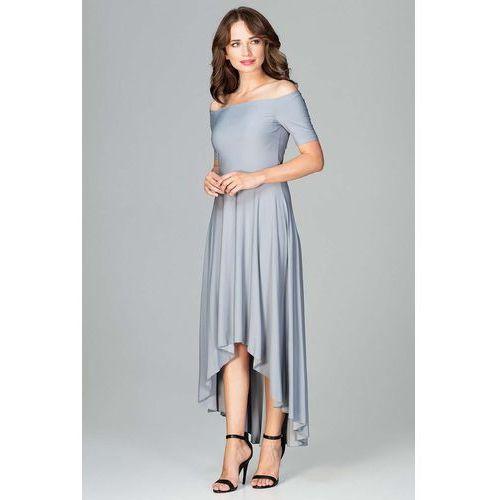 31848c2930 Szara Długa Asymetryczna Sukienka z Odkrytymi Ramionami