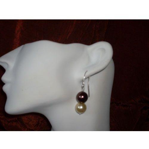 K-00009 Kolczyki z perełek szklanych, kremowych brązowych, 14-03-11