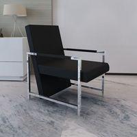 vidaXL Nowoczesny fotel z chromowanymi elementami, czarny
