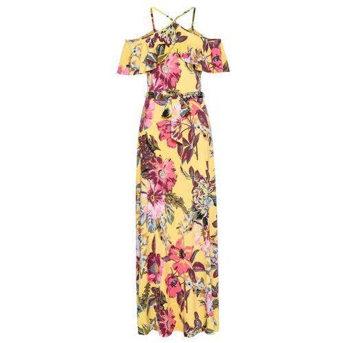 397279150c Długa sukienka z falbaną bonprix żółty w kwiaty