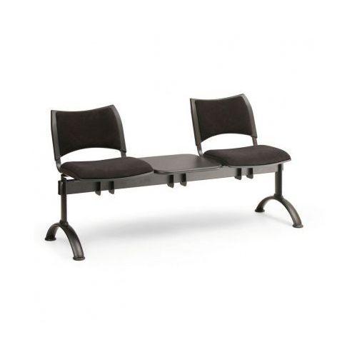 B2b partner Tapicerowana ławka do poczekalni smart, 2 siedzenia + stołek, czarny, czarne nogi