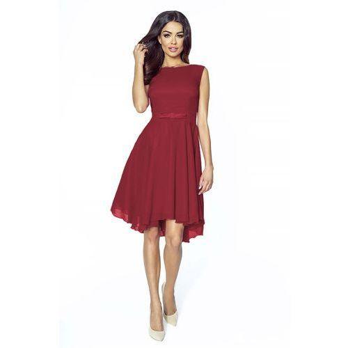 Zwiewna bordowa galowa sukienka z kokardką Kartes moda