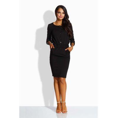 f73a938867 Lemoniade Czarna elegancka sukienka zapinana na guziki MOLLY