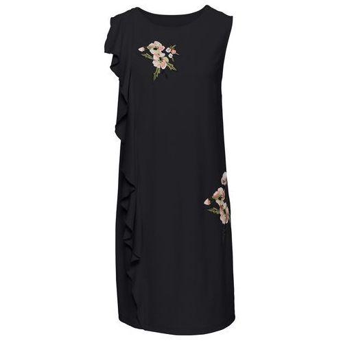 Bonprix Sukienka z haftem i falbaną czarny