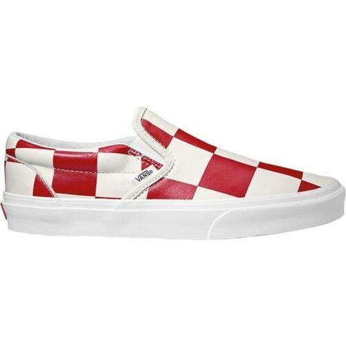 Buty classic slip on leather check true white/racing red rozmiar 42/27cm, Vans
