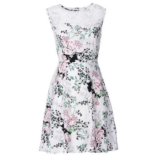 Bonprix Sukienka z koronkową wstawką biały w kwiaty