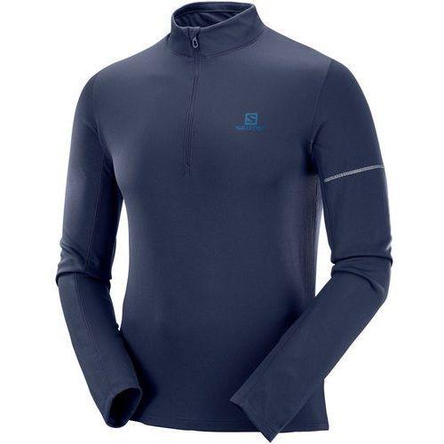 agile bluza z zamkiem błyskawicznym mężczyźni, night sky l 2019 koszulki do biegania marki Salomon
