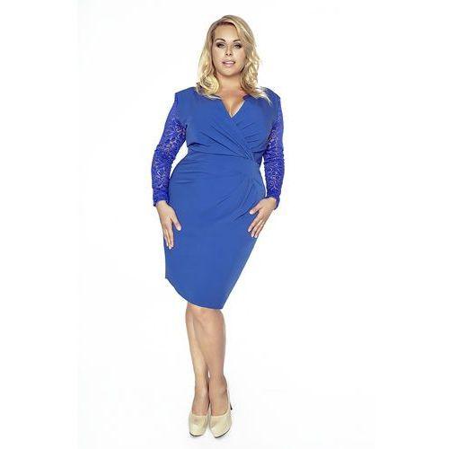 b40e959ff7 Niebieska Koronkowa Sukienka Kopertowy Dekolt Plus Size