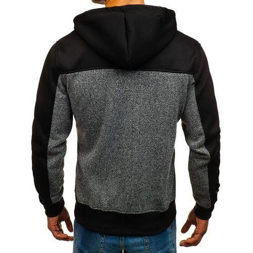 Bluza męska z kapturem rozpinana grafitowa Denley TC821, z