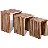 stoliki wsuwane pod siebie/ combo z odzyskiwanego drewna tekowego x3 marki Vidaxl