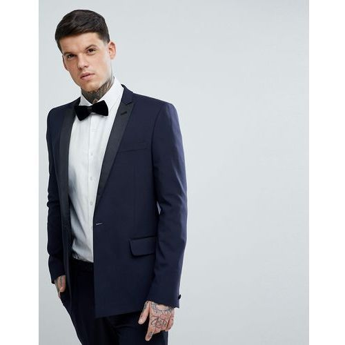 125c3a7a73a8a Asos design Asos skinny tuxedo suit jacket in navy with black satin lapel -  navy