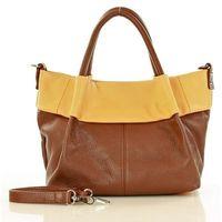 Pomarańczowa skórzana torebka typu kuferek handbag marco mazzini