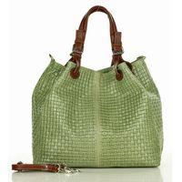 Skórzana torebka shopper mazzini - carina treccia-zielona