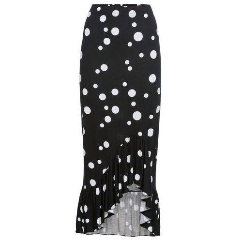 Spódnica bonprix czarno-biały w kropki, kolor czarny