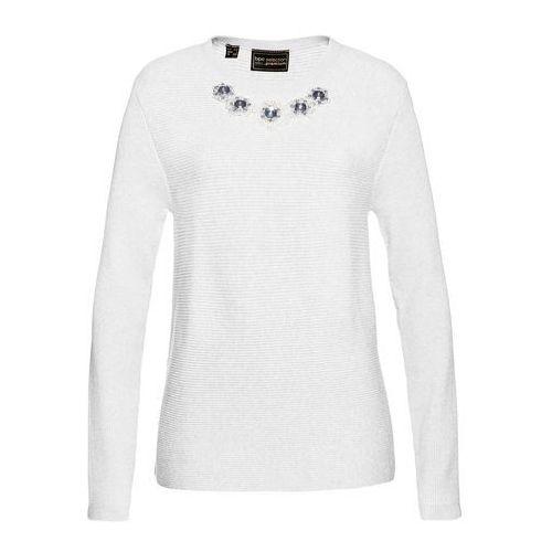 Bonprix Sweter z dekoracyjnymi kamieniami biały