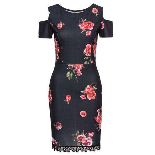 Sukienka w kwiaty z koronką bonprix c, w 6 rozmiarach