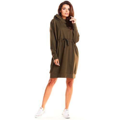7d33ee68d2 Zobacz ofertę Khaki dresowa wiązana w pasie sukienka z kapturem
