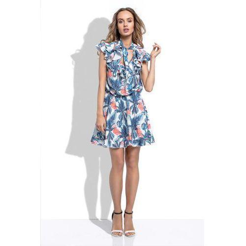 36ccb724ed Zobacz ofertę Niebieska Letnia Sukienka z Tropikalnym Wzorem z Ozdobnymi  Falbankami