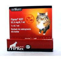 FIPREX Krople Dla Kota na Pchły i Kleszcze Pipeta 0,7ml: Opakowanie - 3 x 0,7 ml
