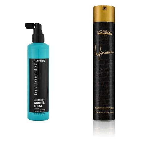 Matrix Total Results and Infinium 4   Zestaw: płyn odbijający włosy u nasady 250ml + lakier 500ml (2018101639373)